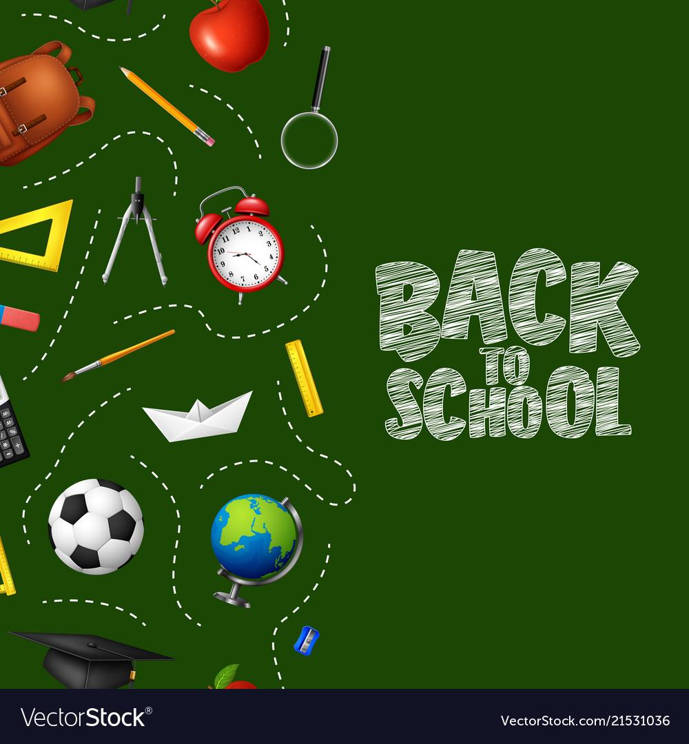 Back to school in chalkboard background