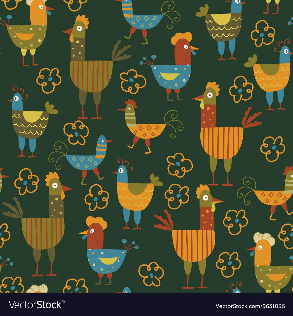 Funny hen seamless background vector