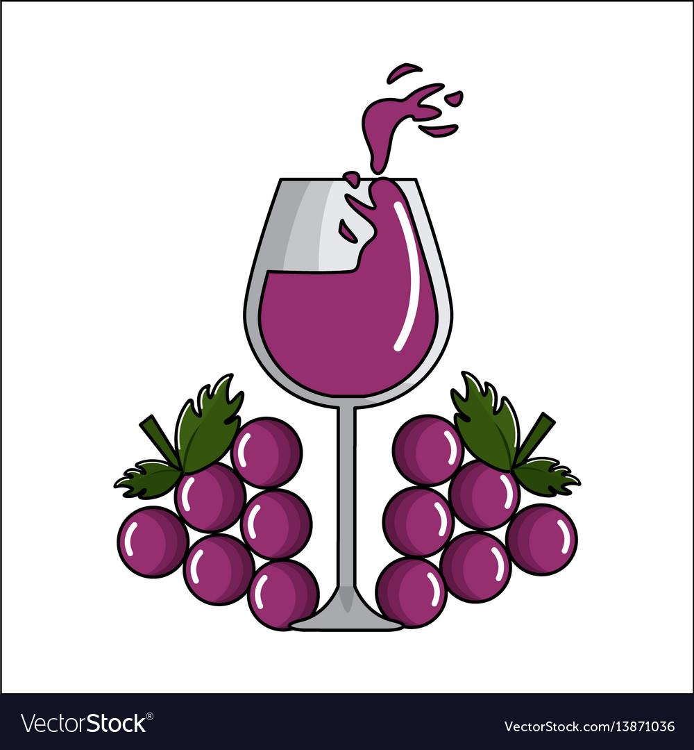 Glass splashing wine with grapes icon