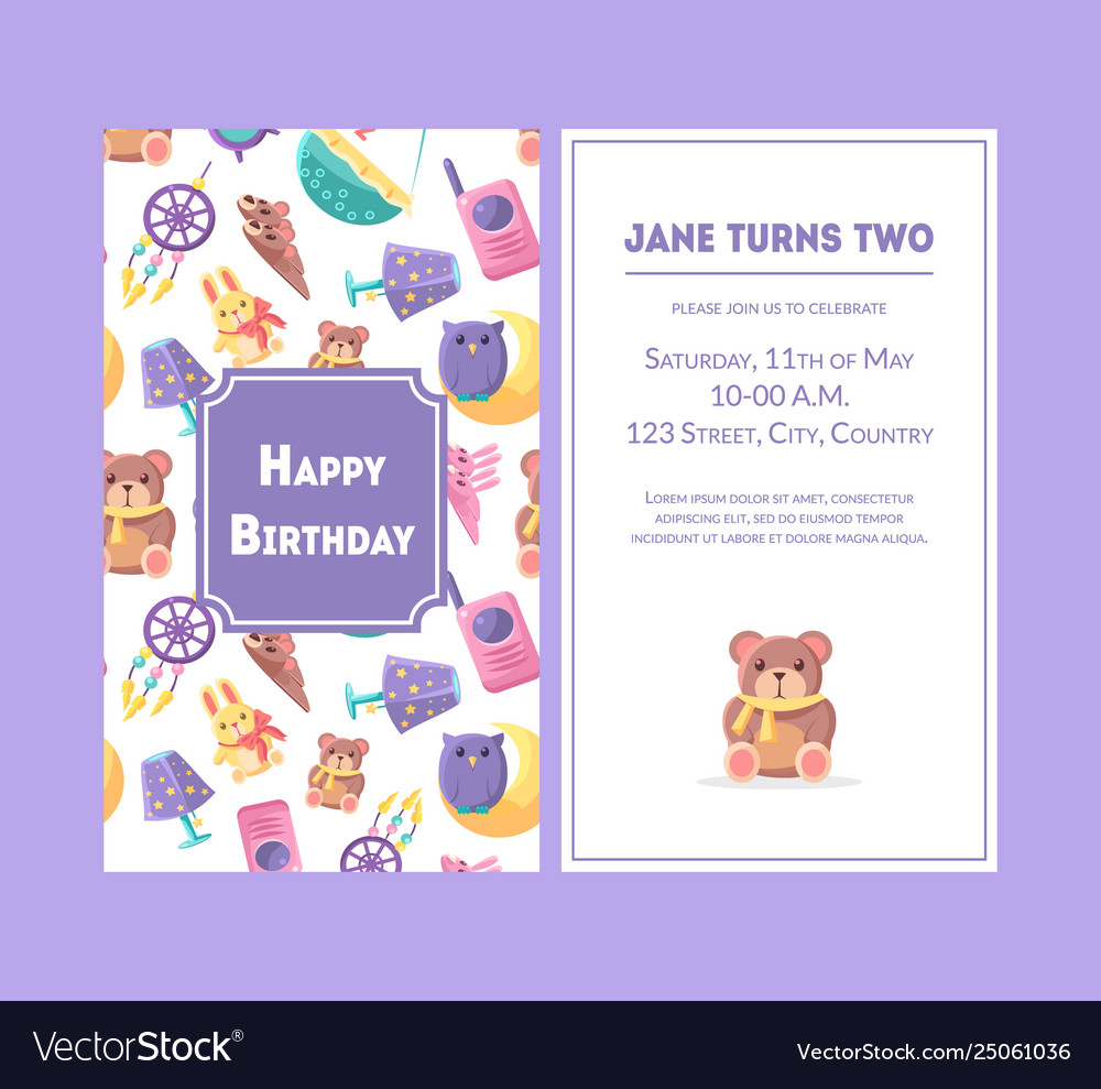 Happy Birthday Greeting Card Violet Party Vector Image