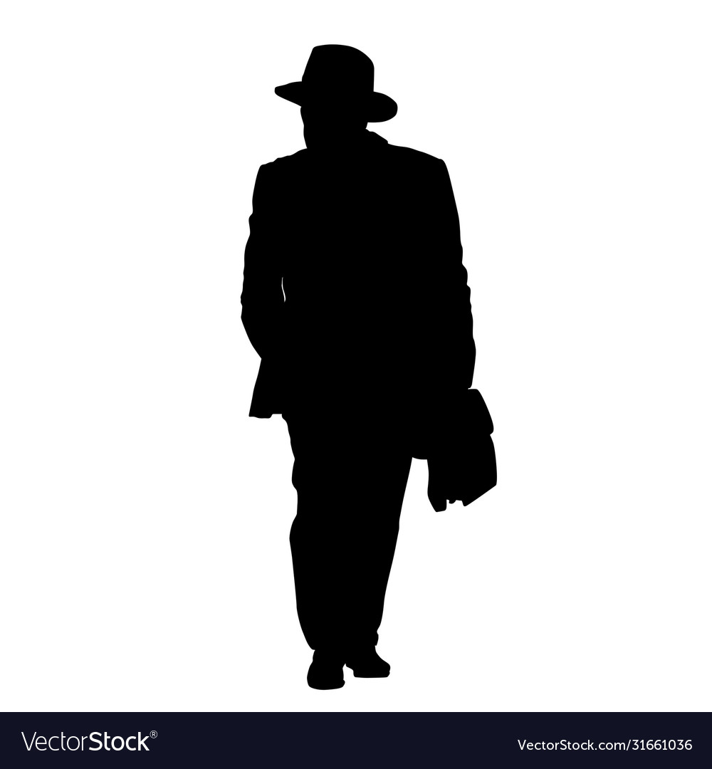 Man silhouette in suit and hat with briefcase