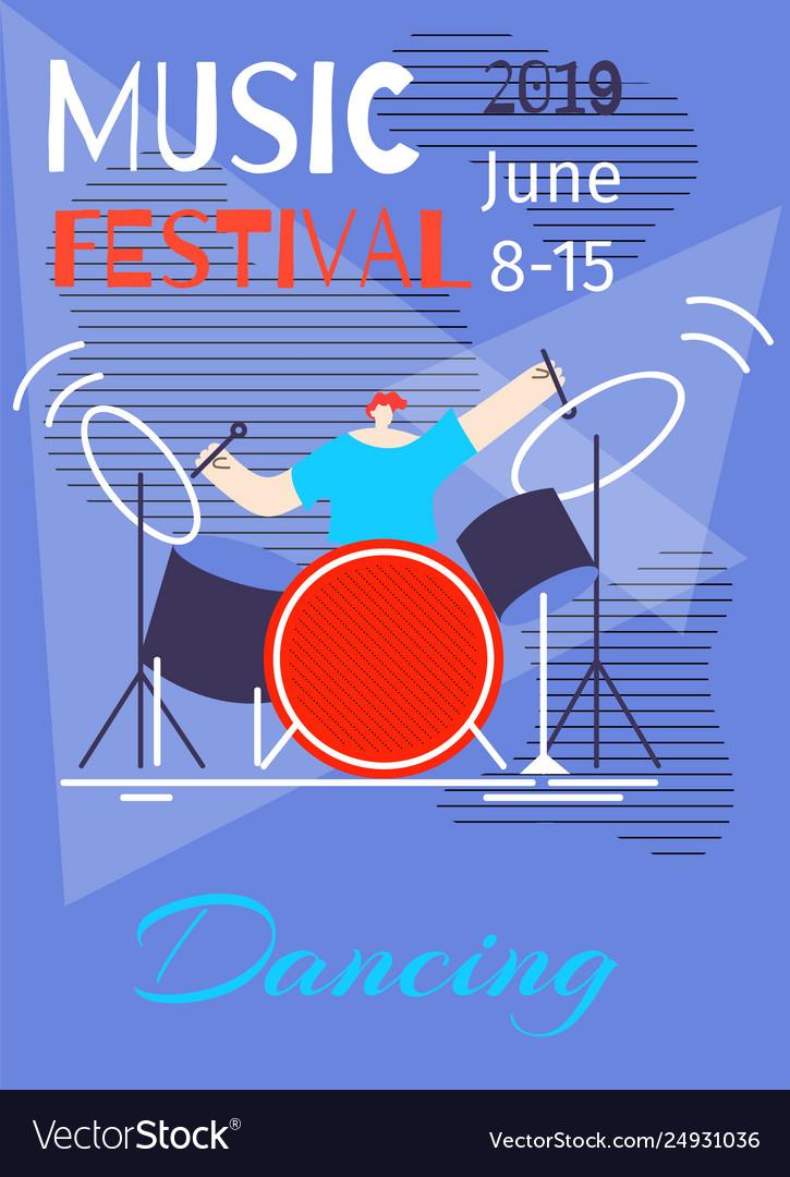Music dancing summer festival poster flat template