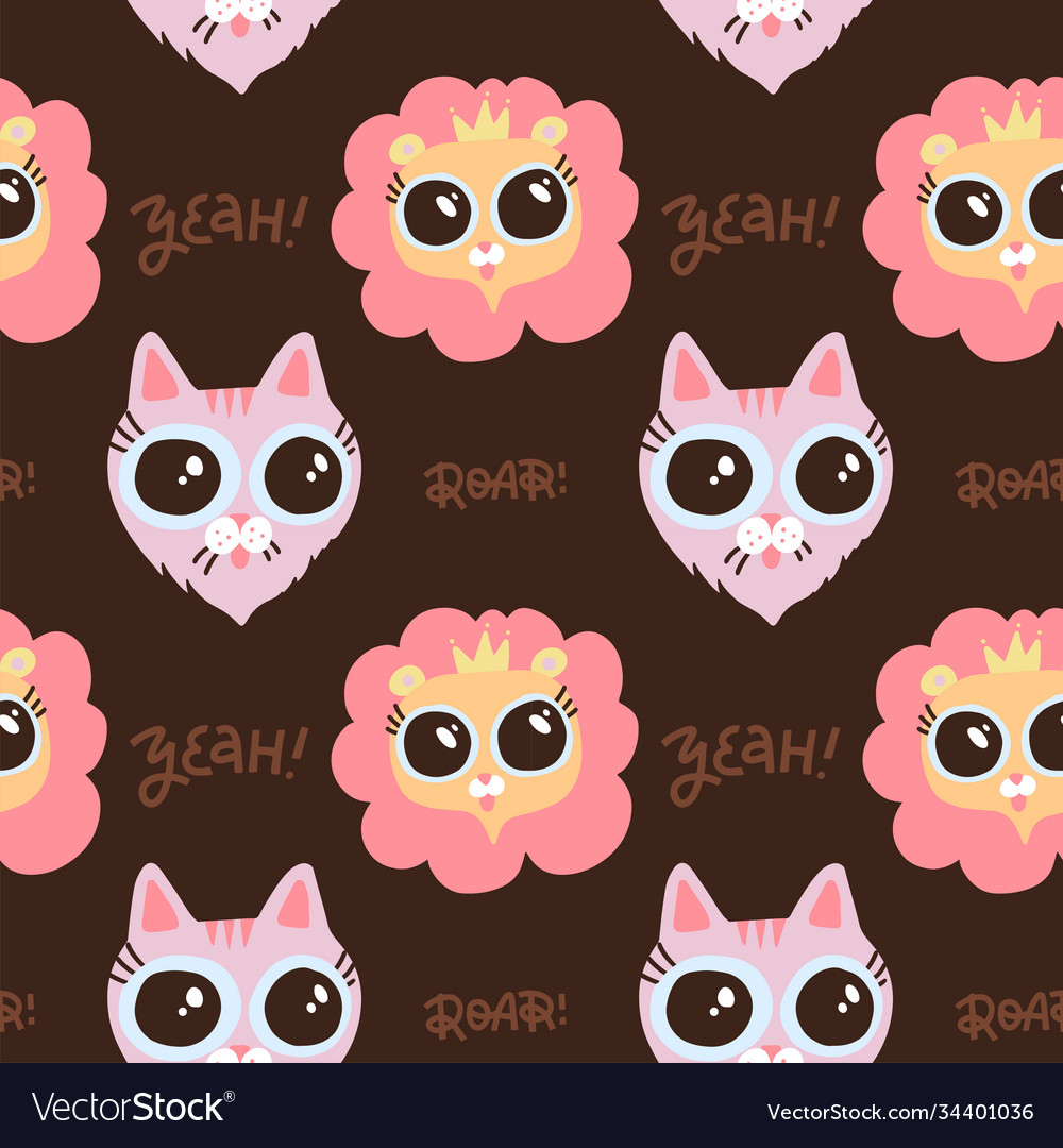 Muzzle lion and cat seamless pattern with
