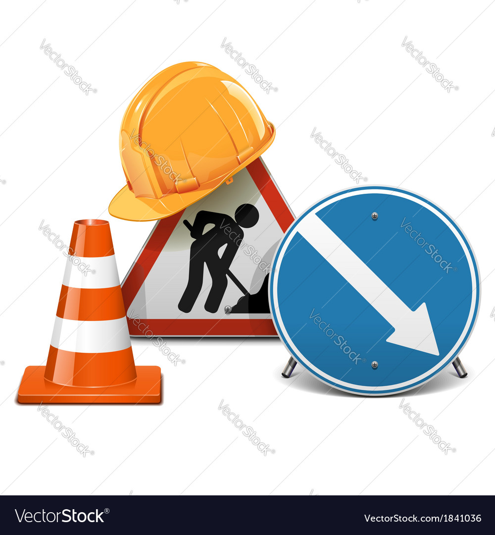 Road Signs with Helmet and Cone vector image