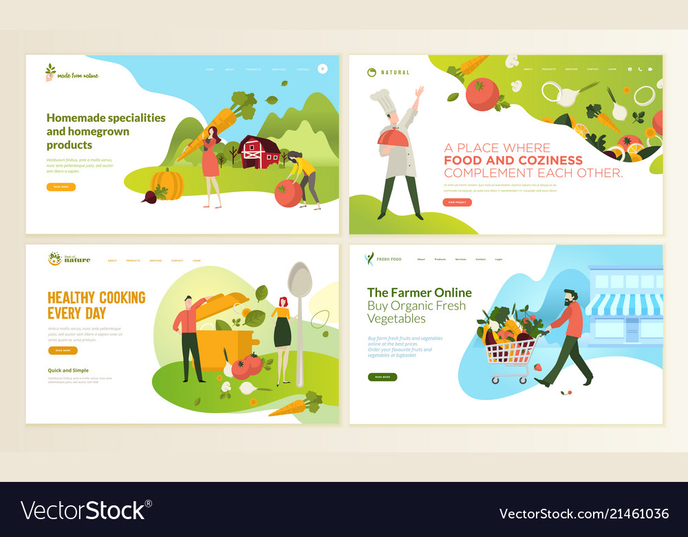 Set Of Web Page Design Templates For Organic Food Vector Image