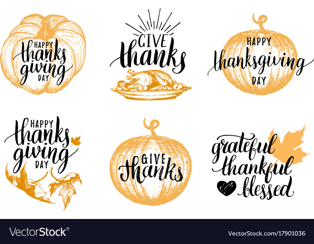 Thanksgiving lettering with sketches for