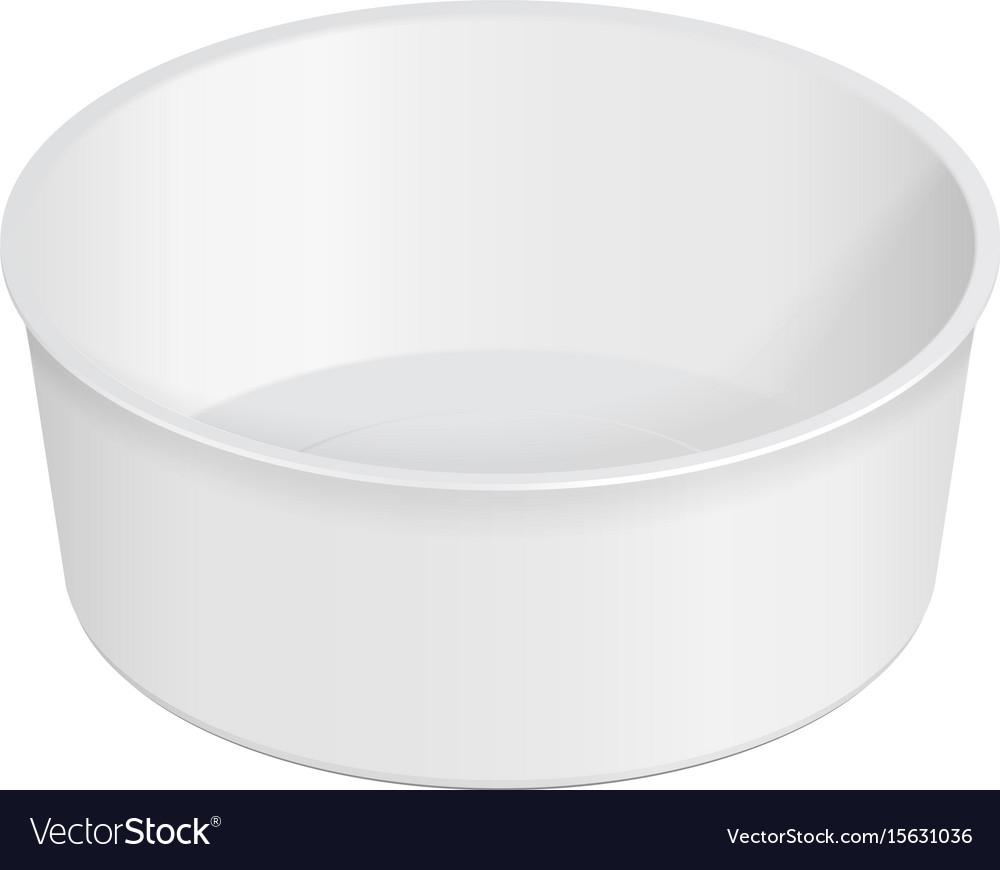 White round empty blank styrofoam plastic food