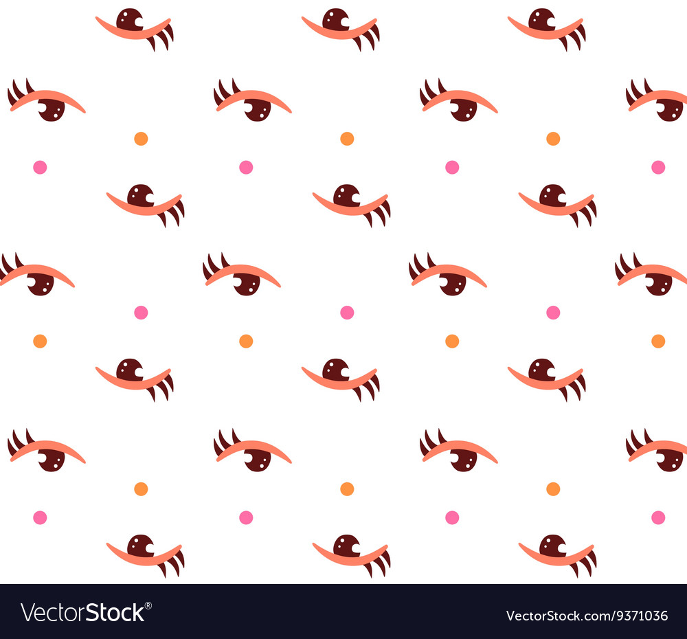 Woman eyes with make up on seamless pattern White