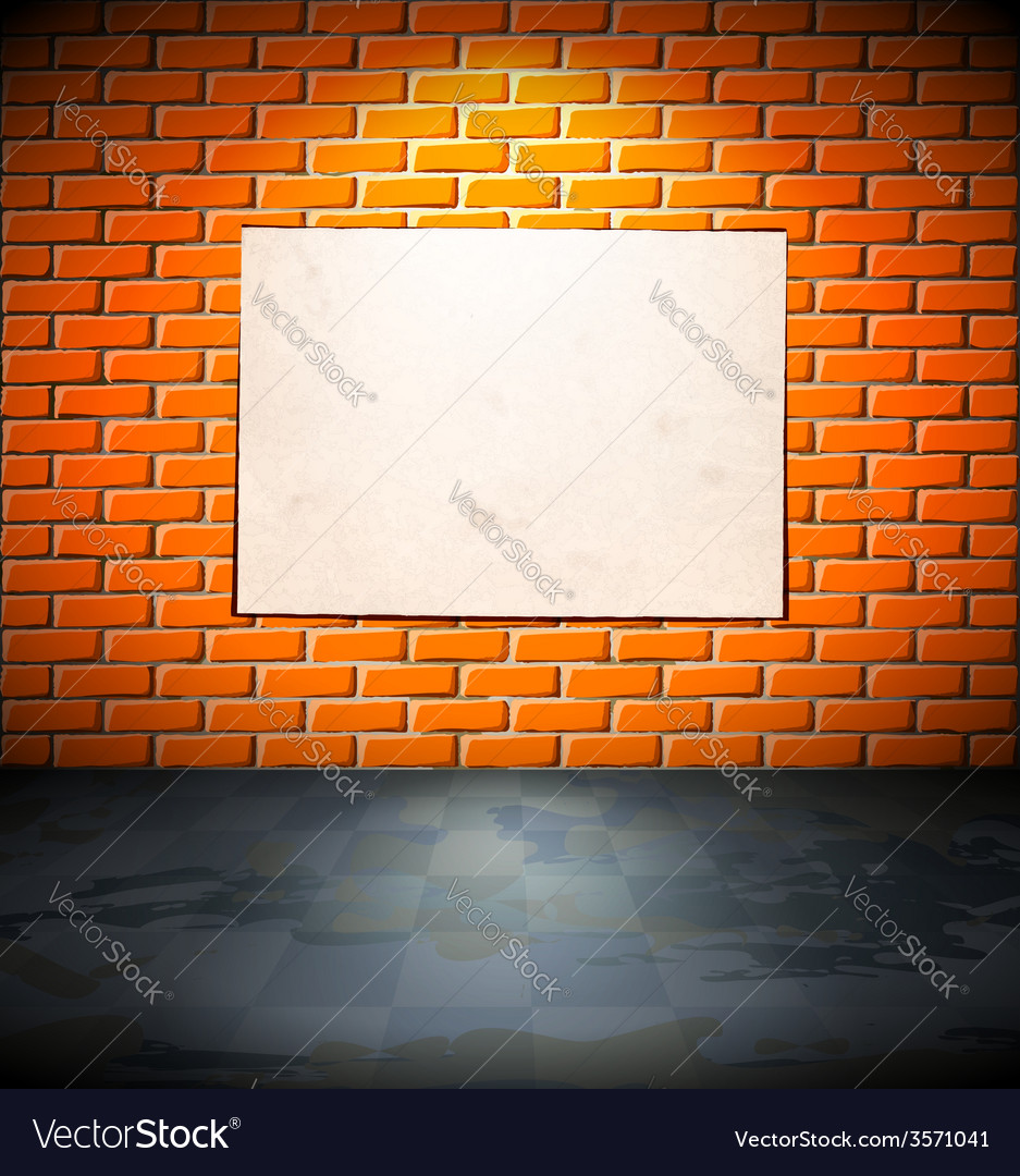 Blank Poster On The Brick Wall Vector Image
