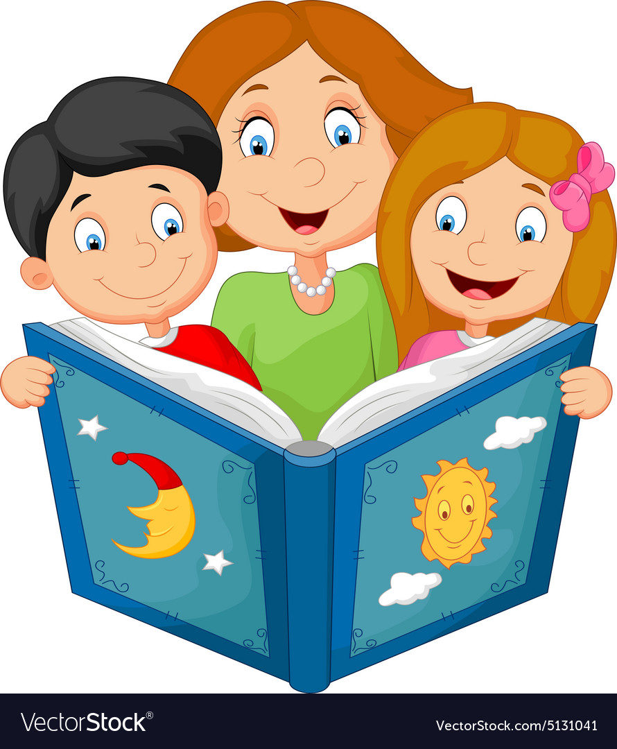 cartoon mother reading with his children vector image Reading at Home Clip Art Reading Books Clip Art