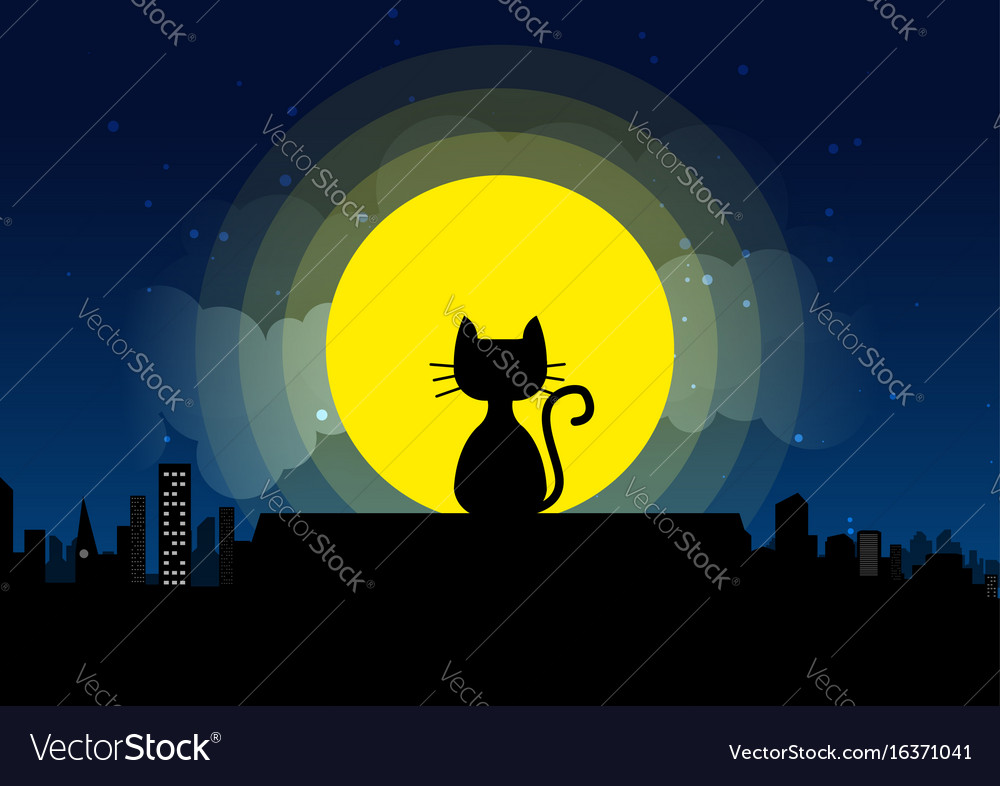 Cat sitting on a roof background of the moonlight