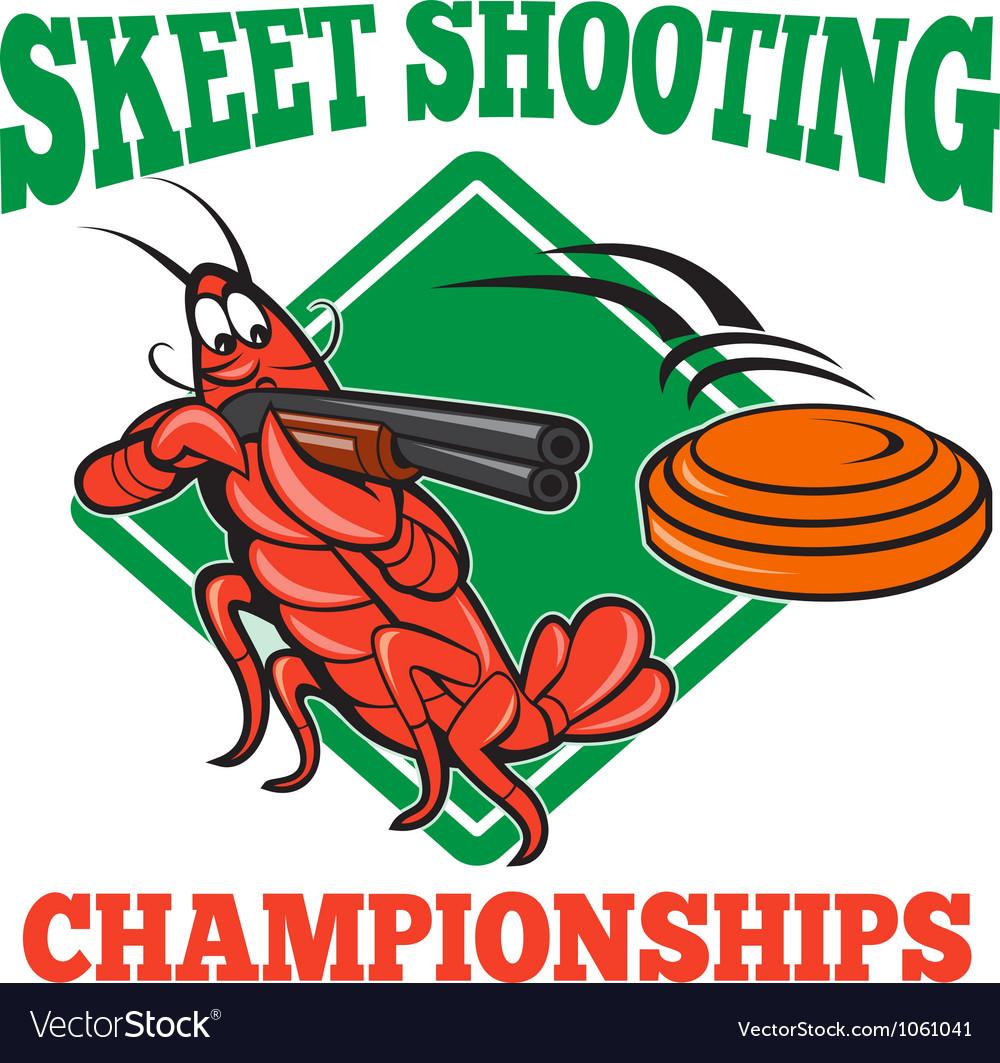 Crayfish Lobster Target Skeet Shooting vector image