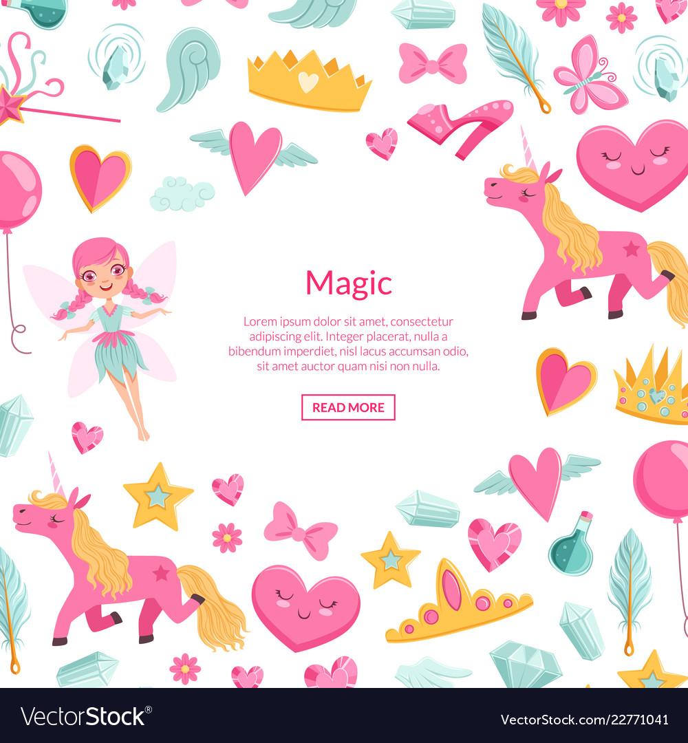 Cute artoon magic and fairytale elements