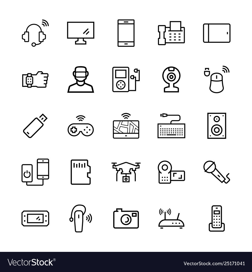 Electronicsgadgets and devices icon set symbols