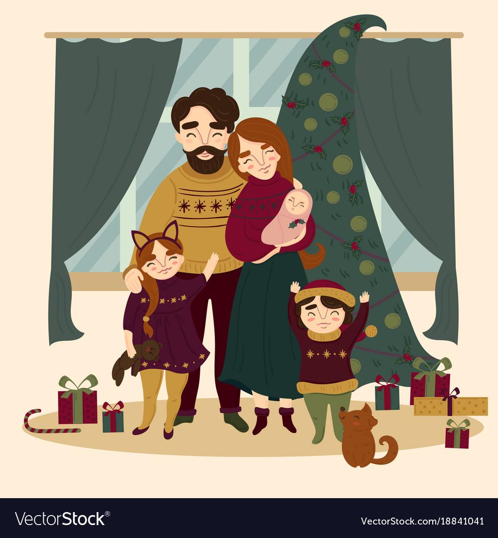 Family at christmas standing near christmas tree