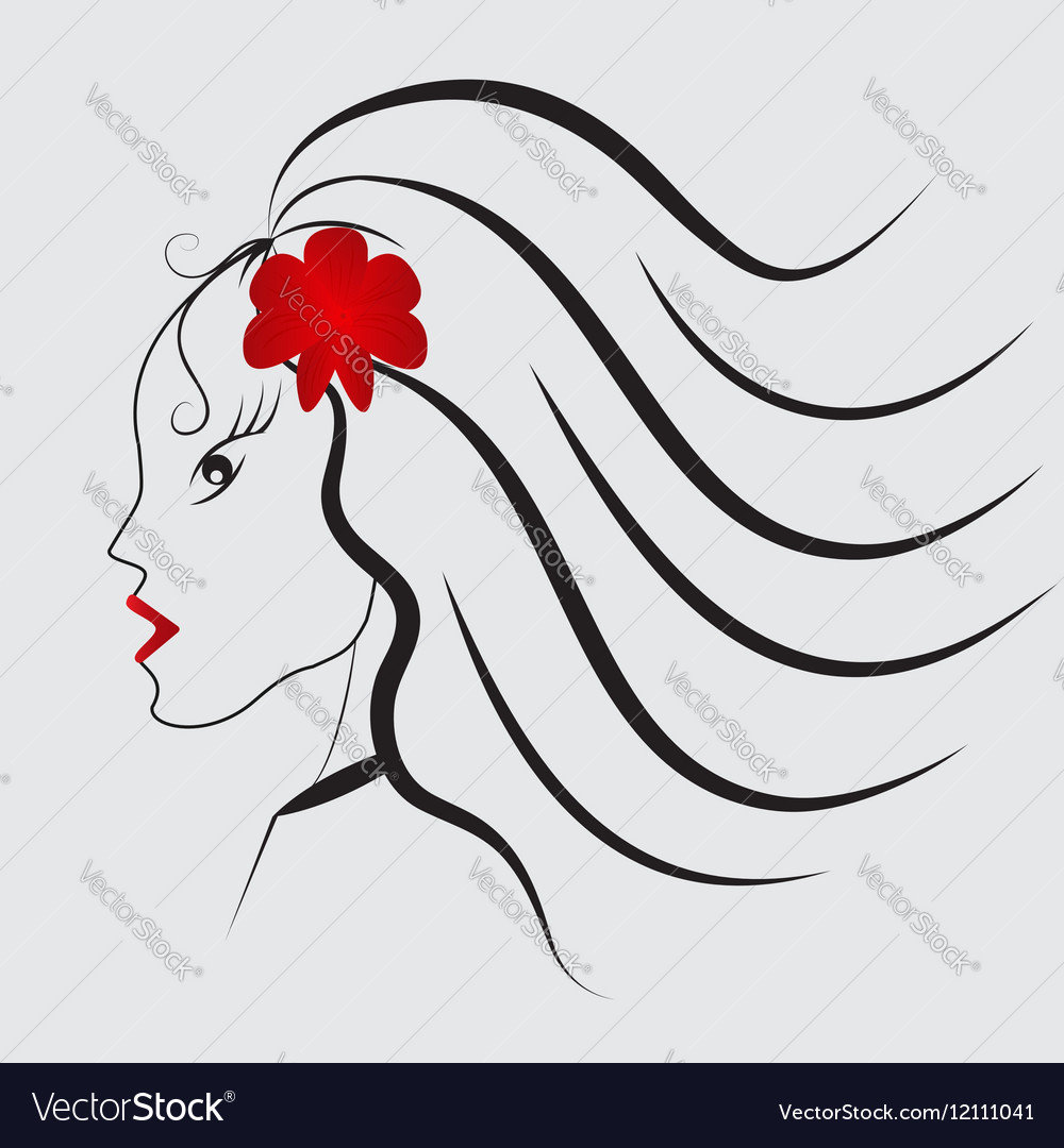 Girl with red flower and red lips
