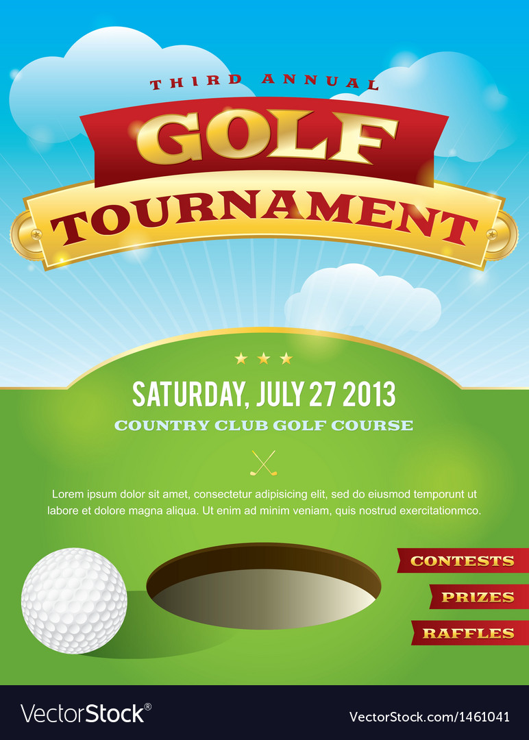 golf tournament invitation design royalty free vector image