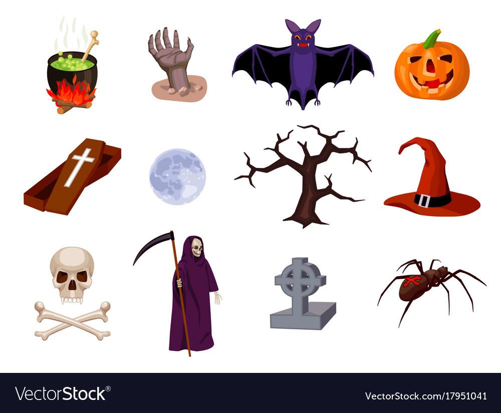 Halloween set of cartoon icons