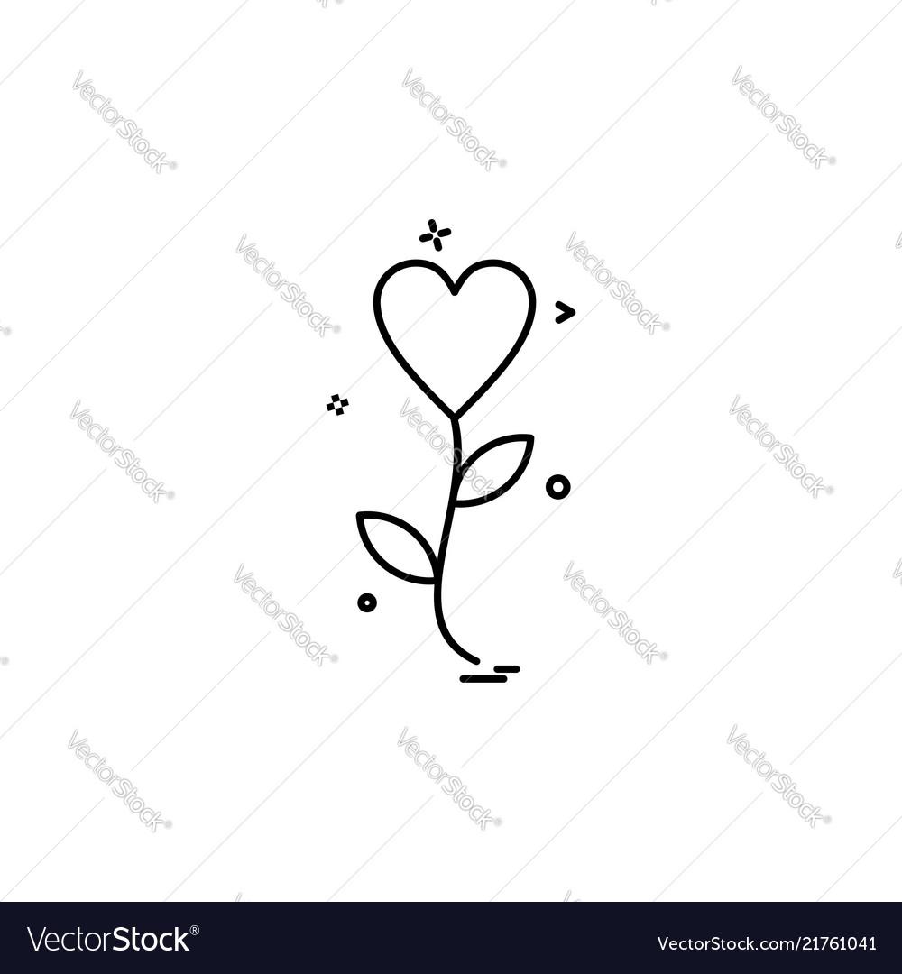 Heart flower icon design