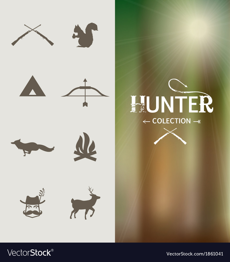 Hunter graphic elements vector image