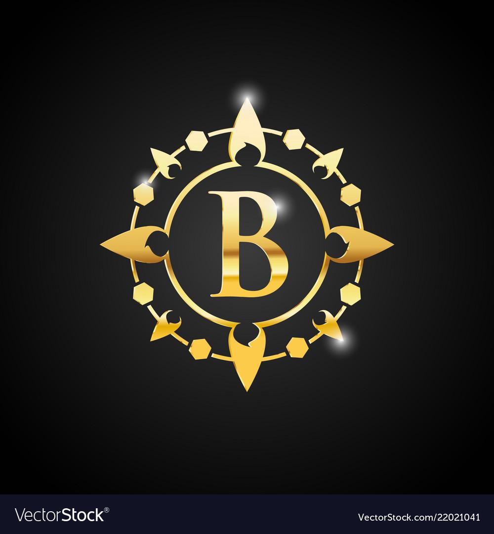 Letter b luxury logo gold
