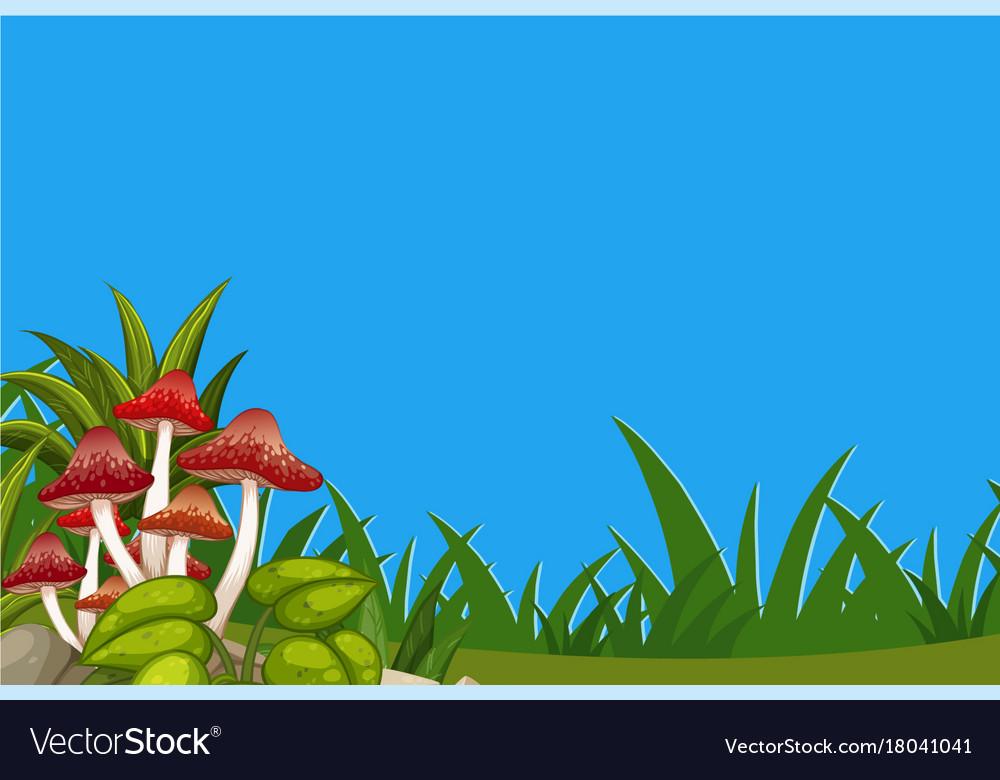 Scene With Mushrooms In Garden Royalty Free Vector Image