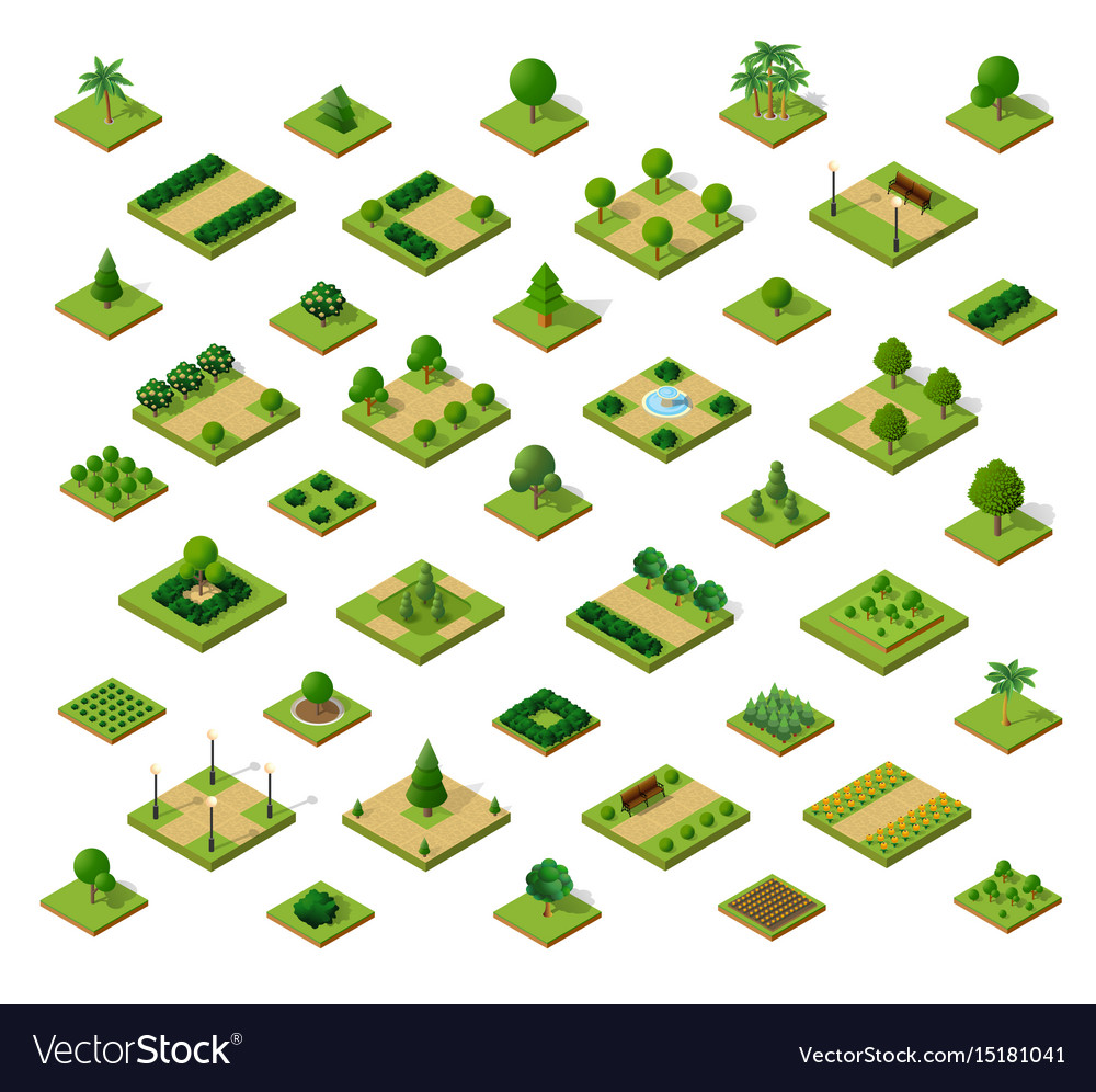 Set of 3d isometric urban parks city natural