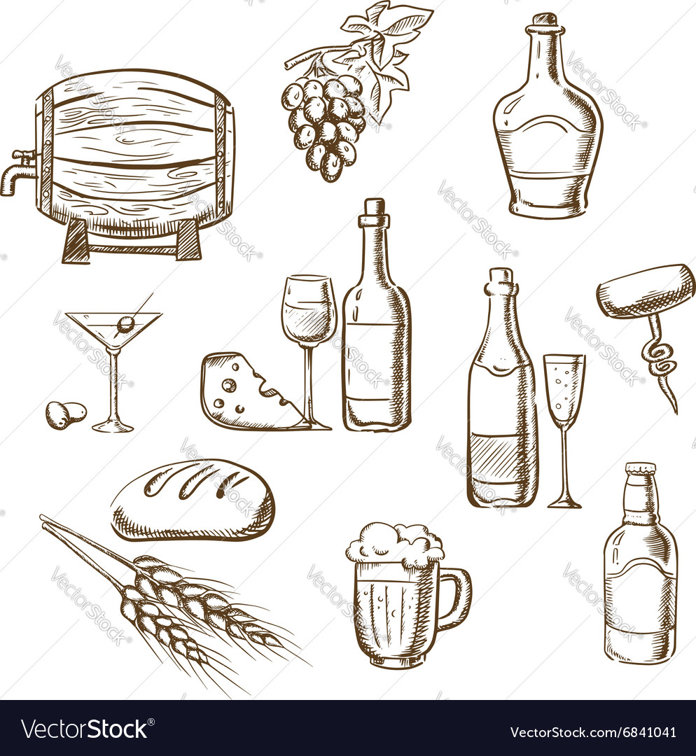 Sketches of alcohol drinks and snacks