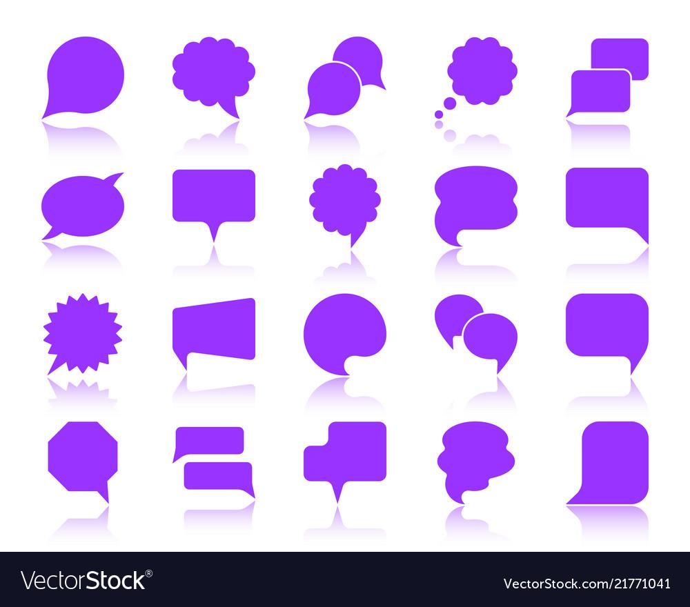 Speech bubble color silhouette icons set