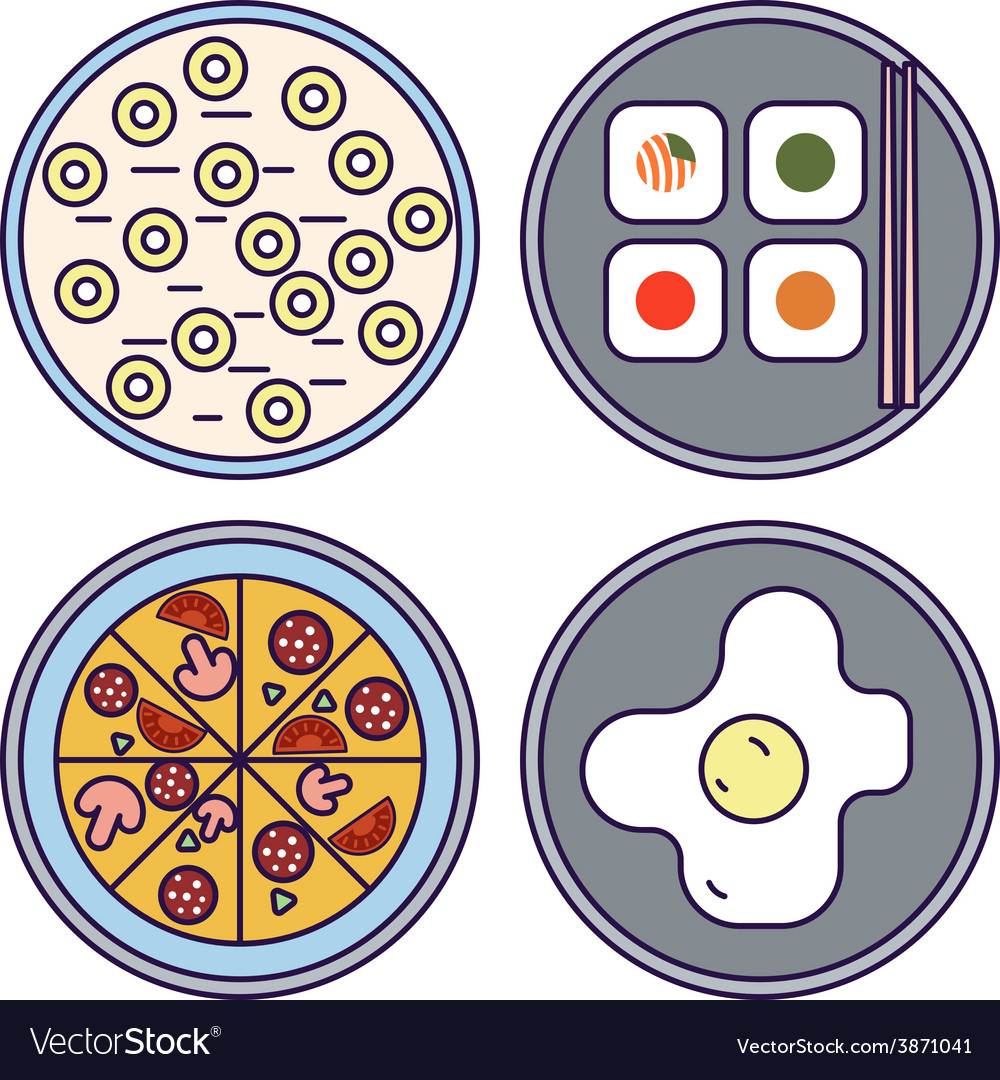 Thin Line Flat Design Food Icons