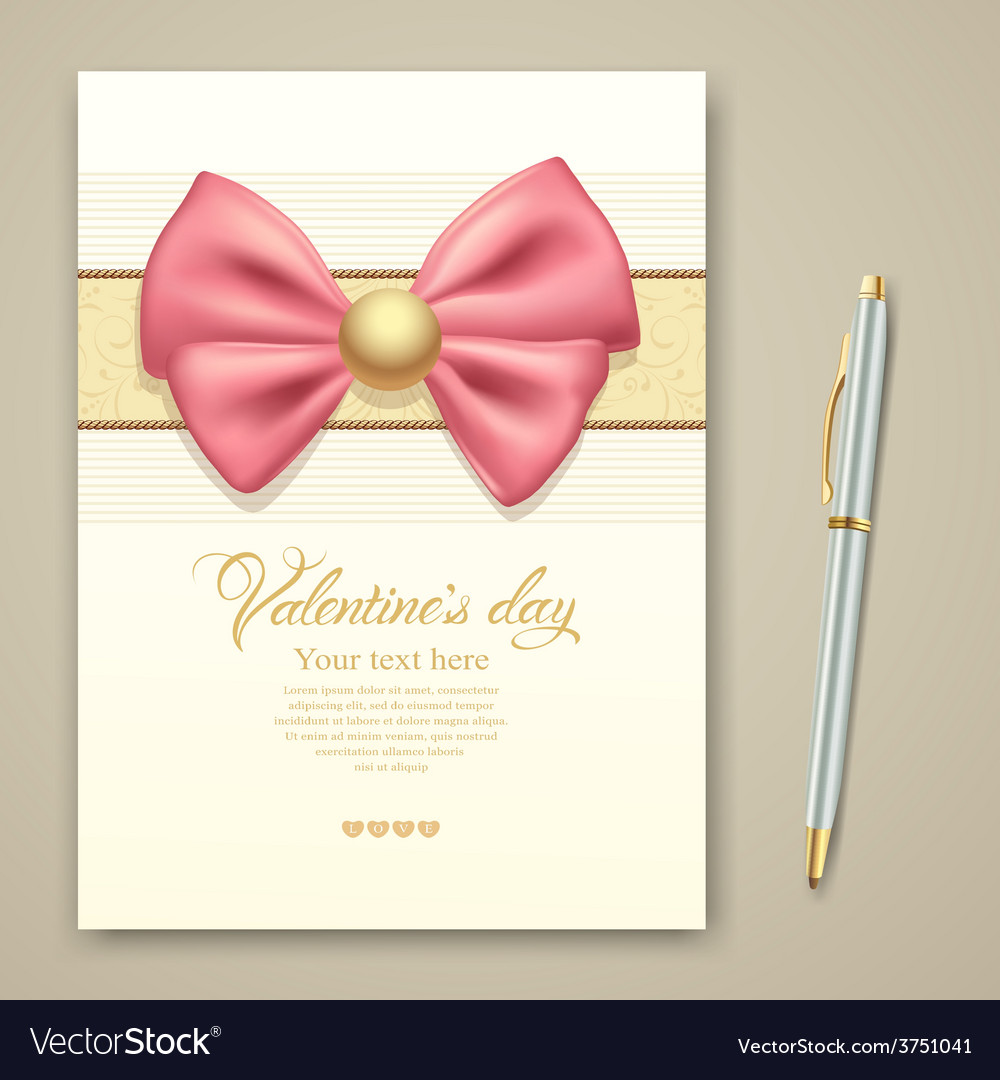 Valentine greeting card pink ribbon