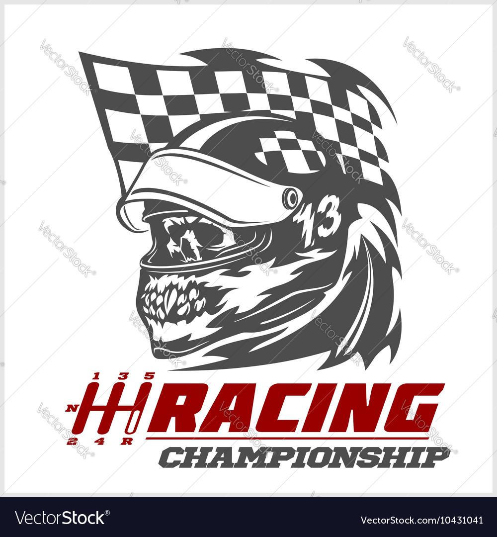 vintage skull checkered flags racing royalty free vector