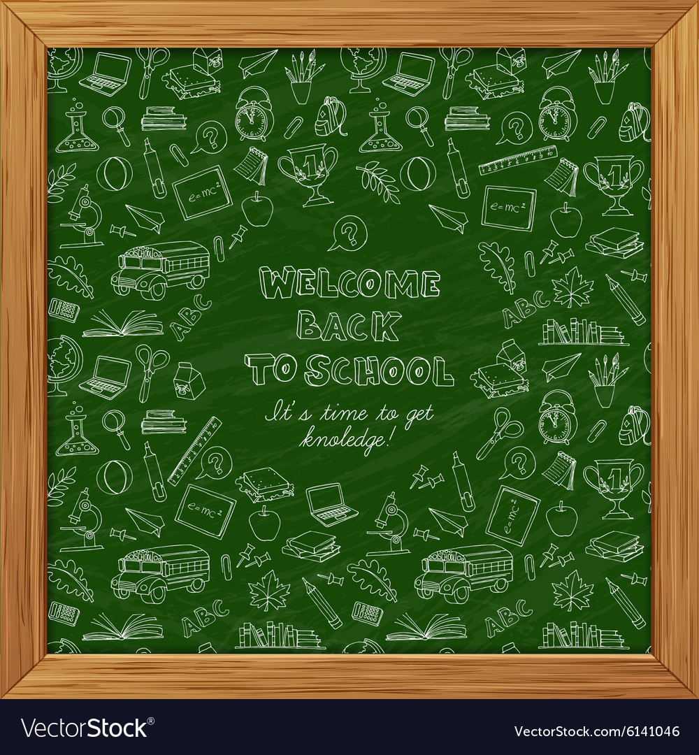 Back to school greeting card of kids doodles with