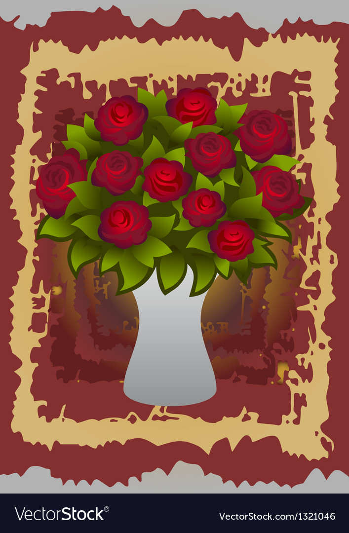 Beautiful roses in vase vector image