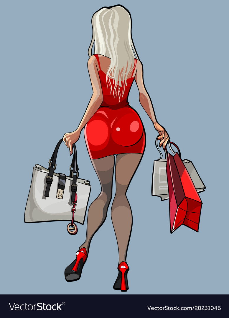 Cartoon beautiful woman steps around with bags in