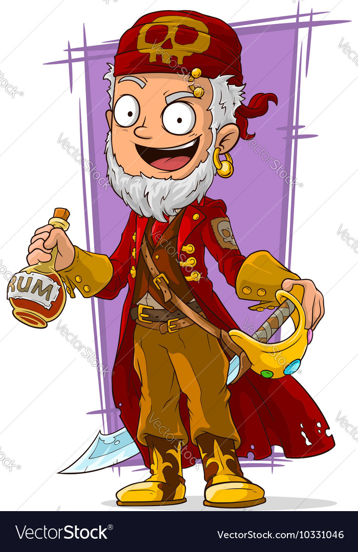 Cartoon pirate in red cape with sword