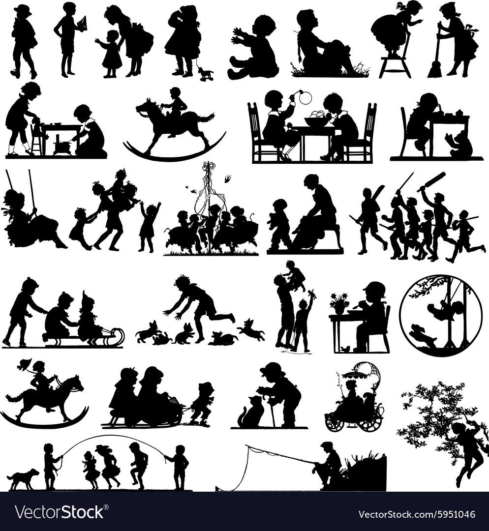 Children silhouettes children playing
