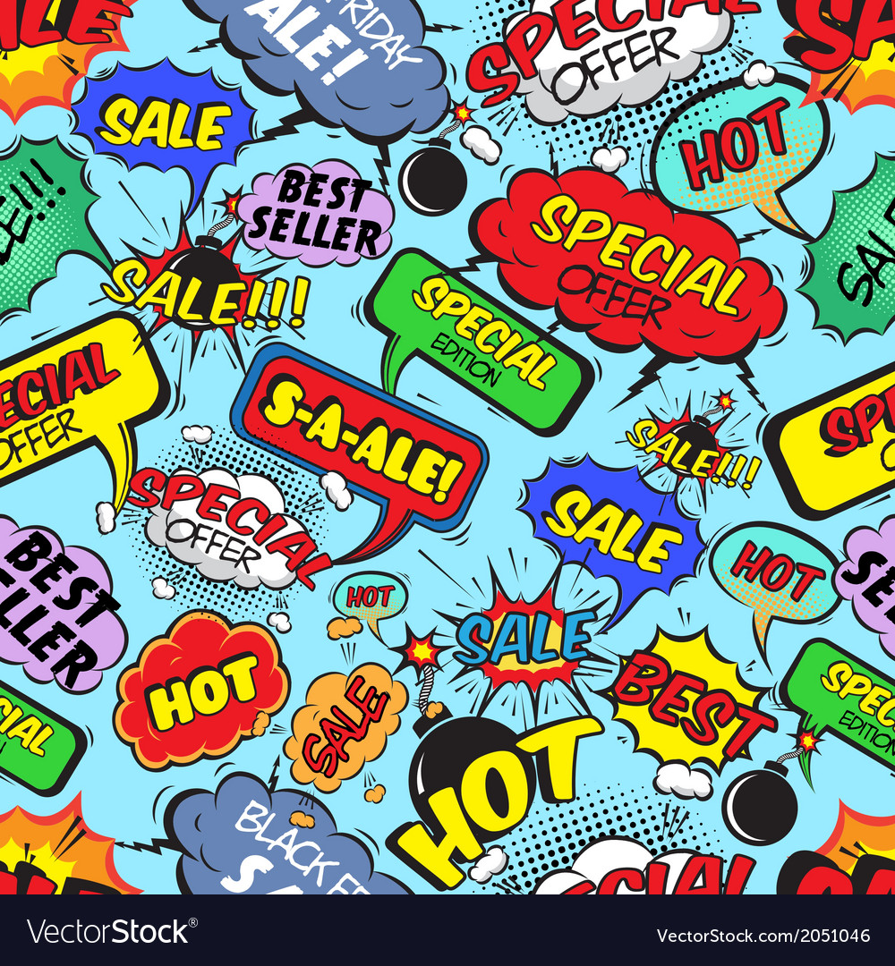 Comic bubbles seamless sale