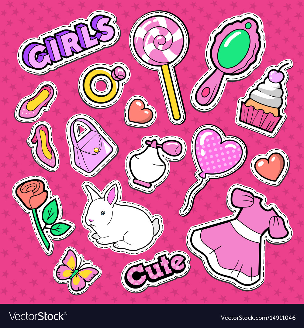 Cute girl fashion stickers patches and badges