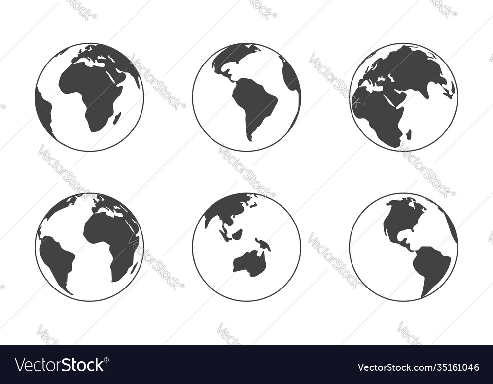 Earth globe black silhouette isolated on white