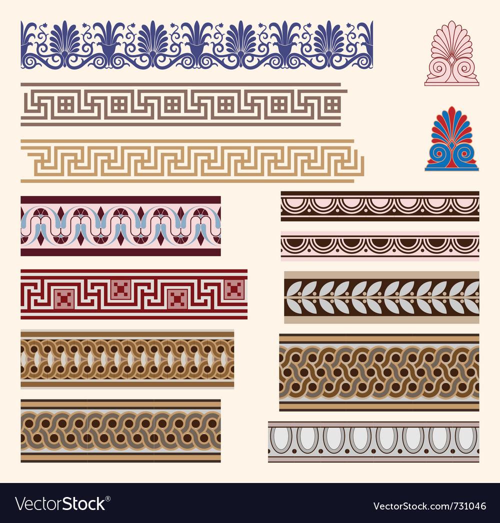 Greek border ornaments vector image