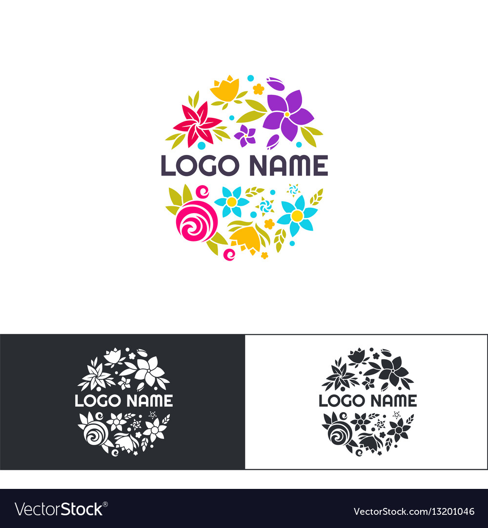 Many flowers logo two vector image