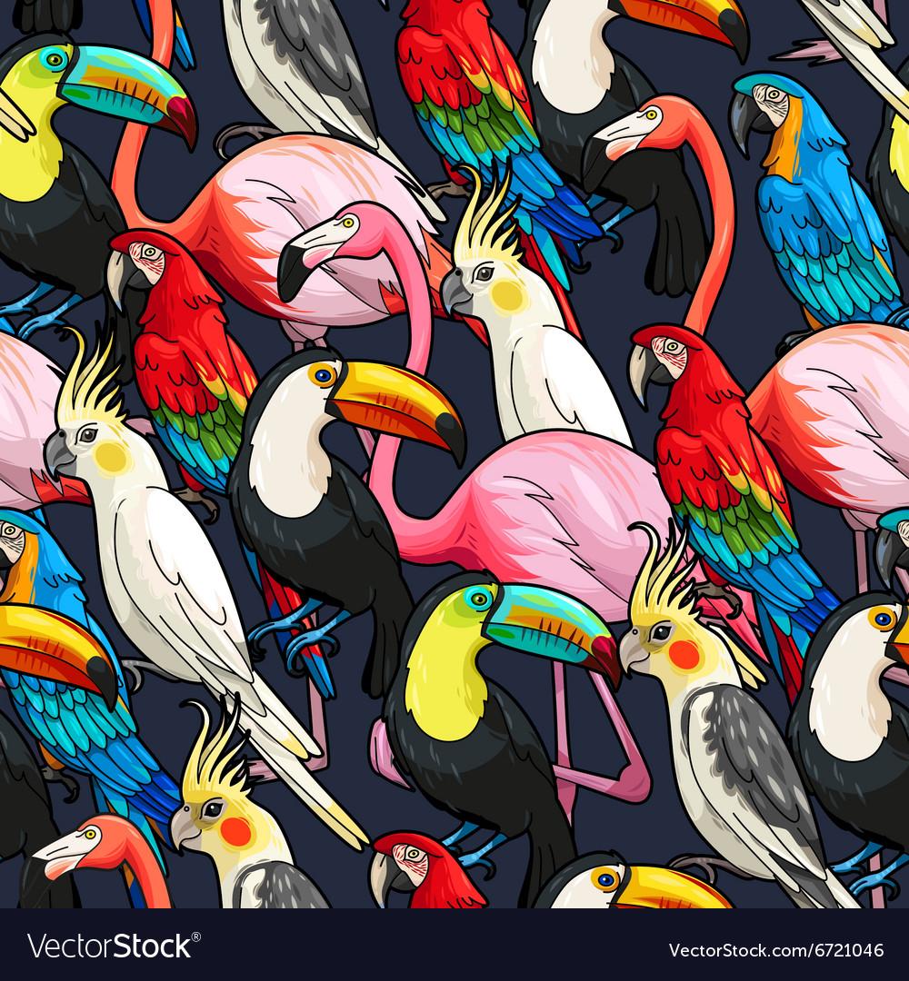 Seamless exotic birds