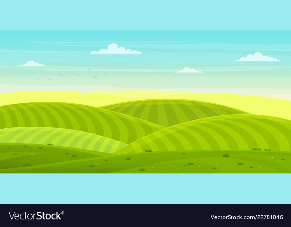 Sunny rural landscape with hills and fields