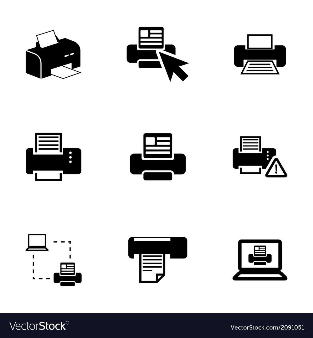 Balck printer icons set