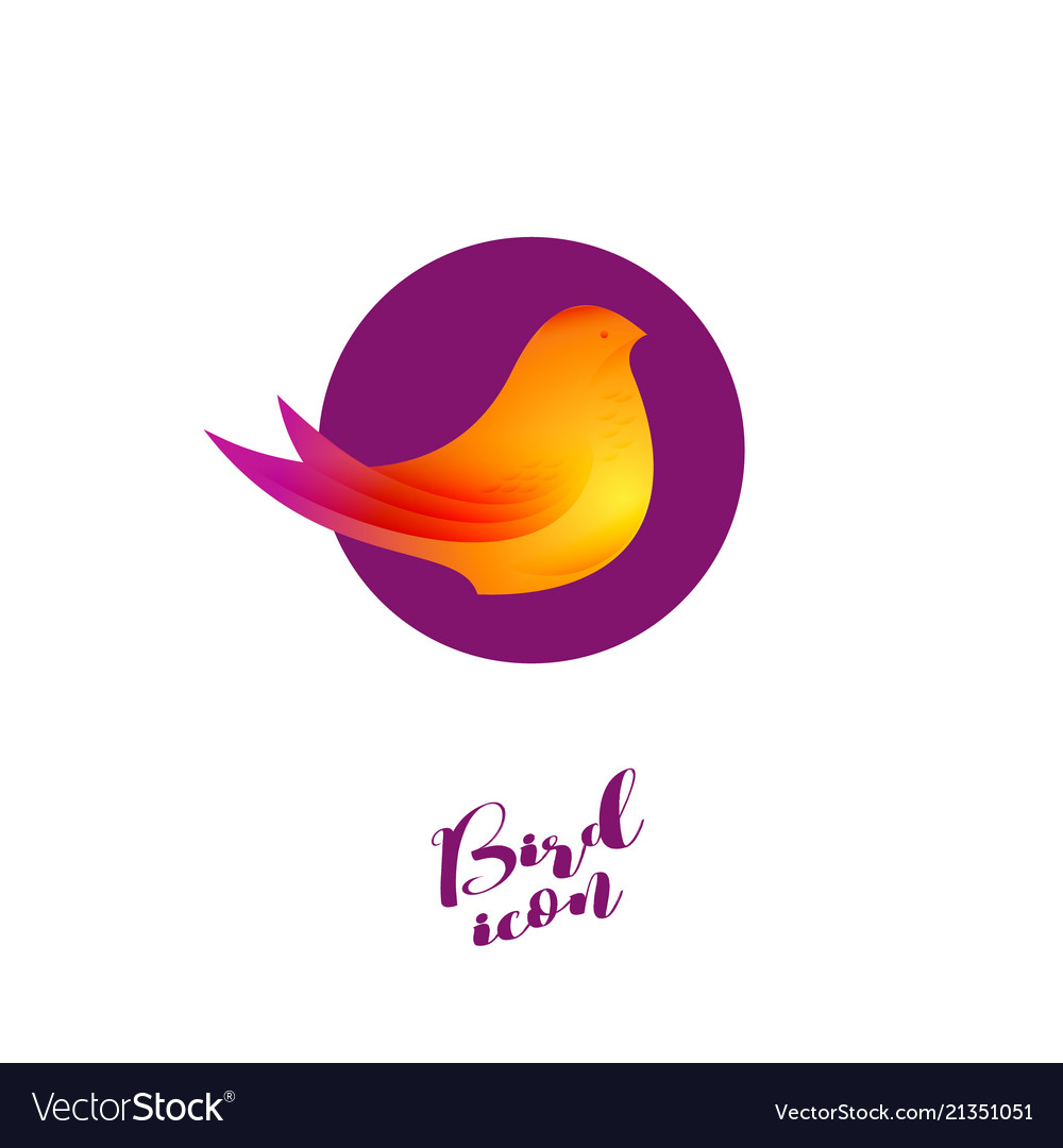 Bird logo beautiful bird isolated purple circle