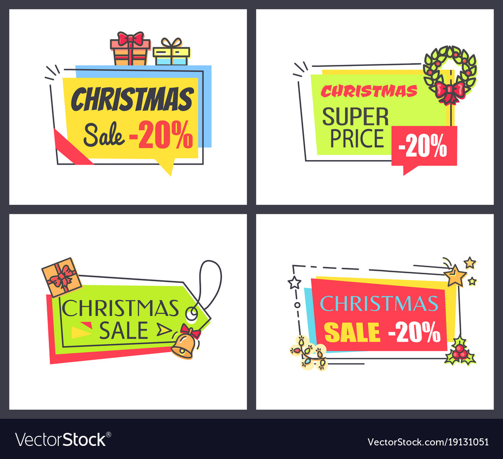 Christmas sale -20 posters vector image