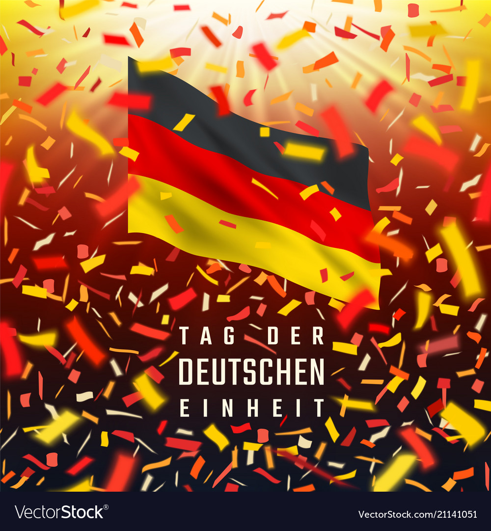 Germany independence day card with flag confetti