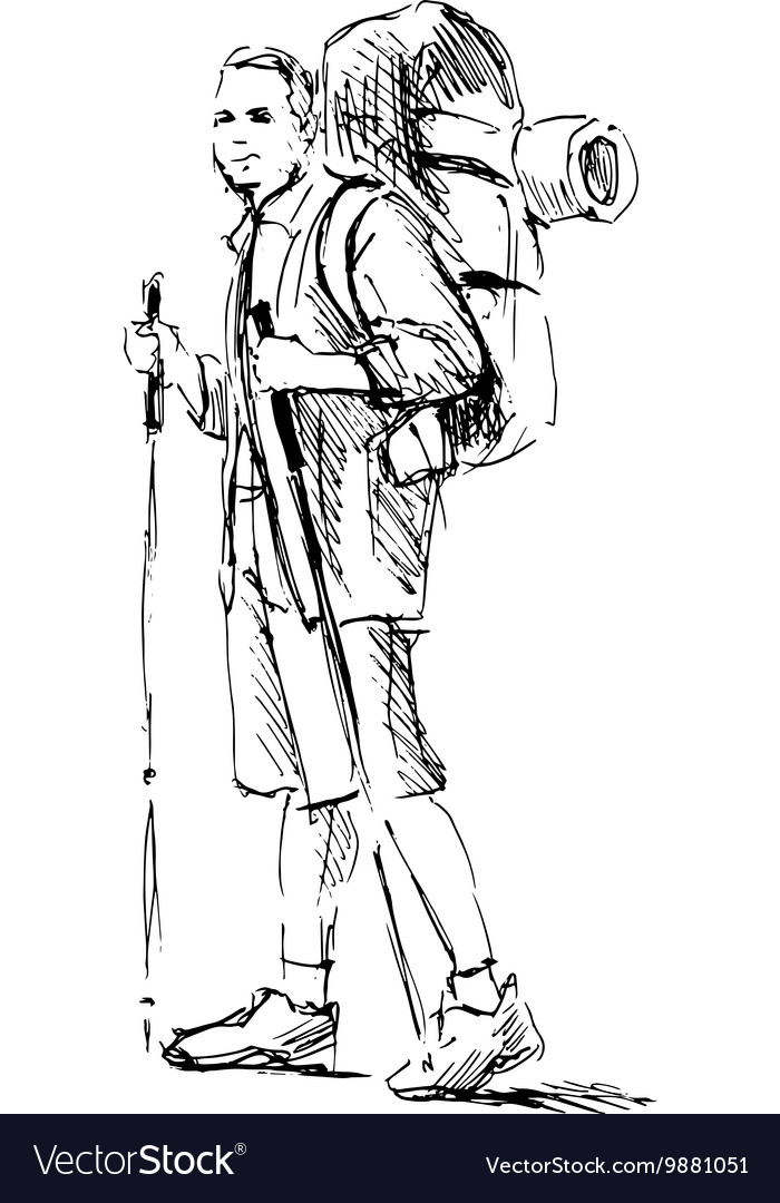 Hand sketch of a mountain tourist vector image