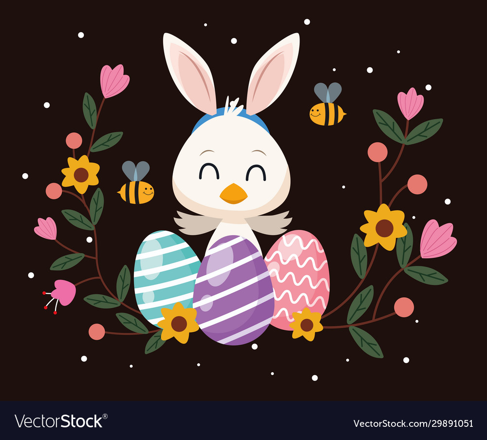 Happy easter card with little duck and ears rabbit